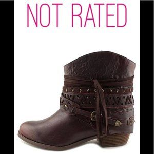 Not Rated Wine Side-Tie Naoni Ankle Boot size 6.5